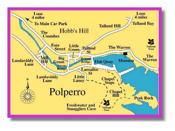medium size version of Polperro map and street plan