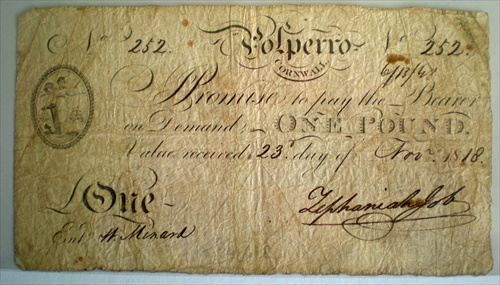 Polperro One Pound Note  - photo copyright  November 2012